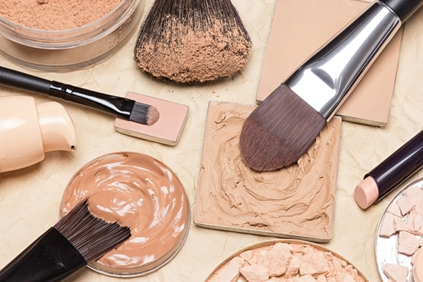 Foundation makeup products flat lay