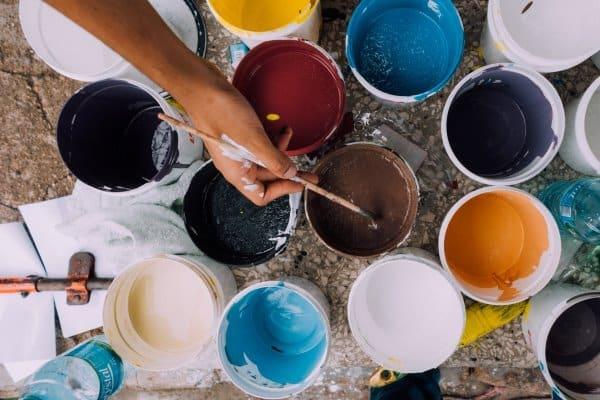 top shot of paint buckets