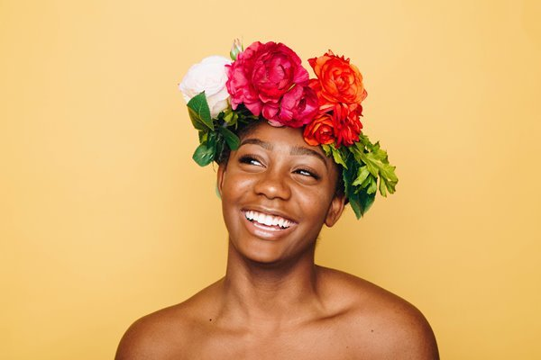 Happy Girl with a Flower Crown