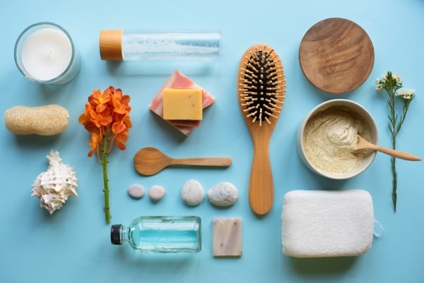 Skincare objects flat lay