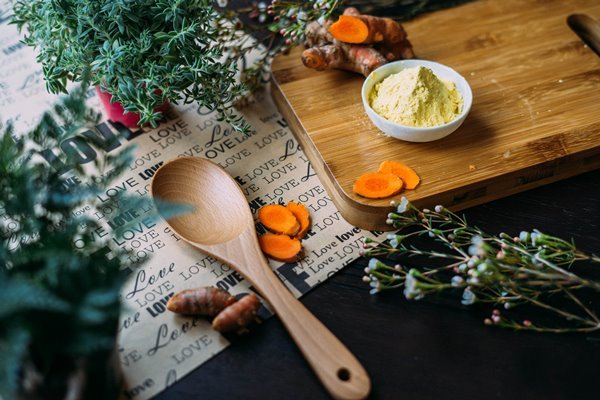 Turmeric and spices flat lay